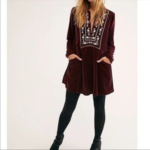 Free people always forever velvet mini dress